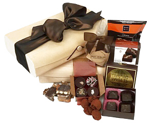 Two of our birch wood boxes filled with chocolates - click here for more