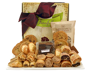 The Large Fancifull Box filled with an assortment of rugulach, cinnamon coffee cakes, baklava, several varieties of cookies and madeleines.