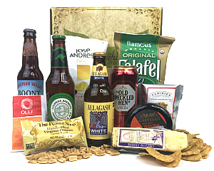 Gift Box containing 4 different beers, Cheese, Salami, peanuts, potato chips and more