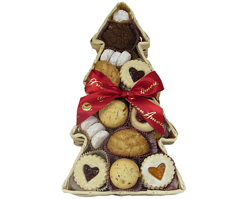 An assortment of italian cookies in a tree shaped tray