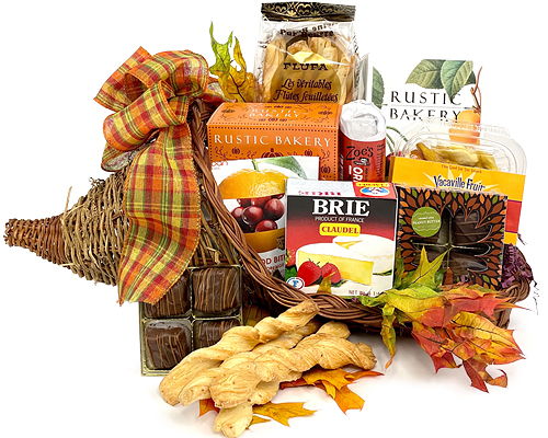 a cornucopia basket filled with cheese, crackers, nuts, chips and other foods as in the description