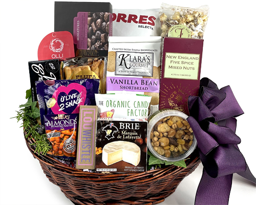a big basket of fine foods for a party or gathering