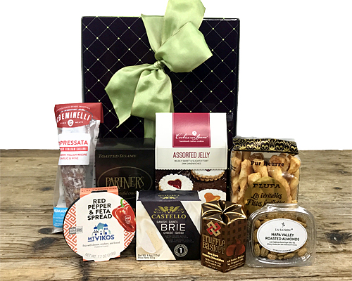 a stylish box filled with cheese, salami and other favorite foods of Fancifull - see the description