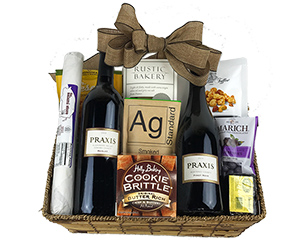 Wine gift with two California wines, high quality cheese, chocolate, crackers and salami.