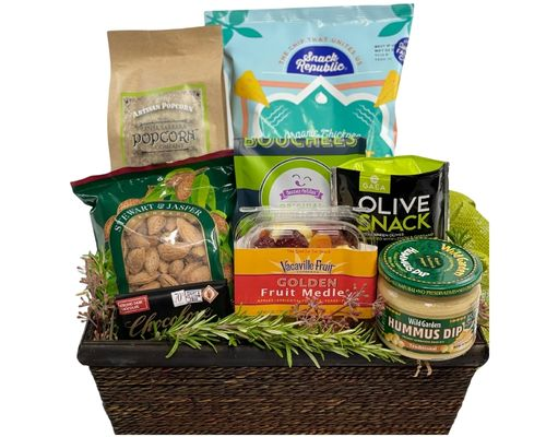 a dark brown rectangular basket full of gluten free foods as in the description.