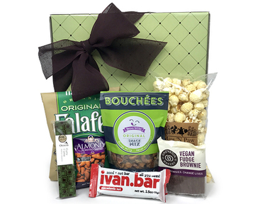 a gift box filled with a colorful arangement of various healthy snacks - full description on the product page. click here