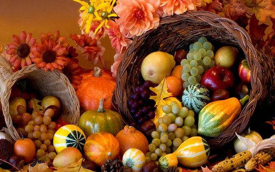 a cornucopia full of autumn foods