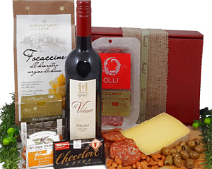 a red gift box with Italian wines and foods