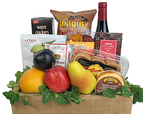 Kosher Wine, Cheese, Chocolate, Rugulach, Nuts, Pretzels and Fruit