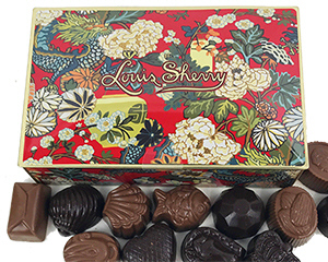 Louis Sherry Red Dragon design tin with the chocolates it contains - click here