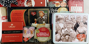 a custom gift basket filled with items relating to the I Love Lucy TV show