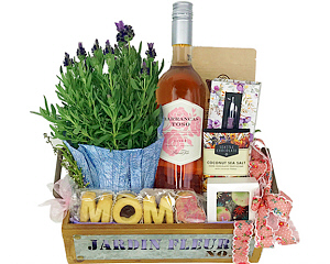 A sure way to be the favorite, send your mom this basket brimming with beautiful and delicious things.