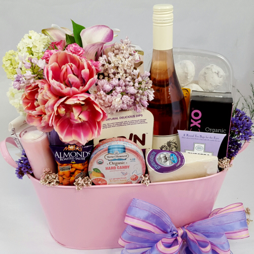 Flowers Wine Gift Baskets Gift Ftempo