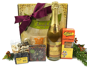 a Fancifull gift box and the goods it contains: sparkling wine, cheese, chocolates, etc.