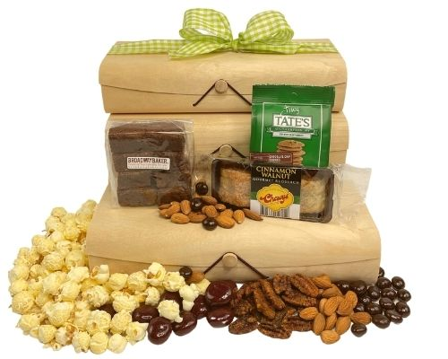 2 birch boxes with flexible wood tops with brownies, lemon shortbread, nuts popcorn dried fruit and other items
