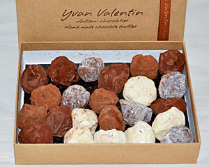 an open box of Yvan Valentin chocolate truffles