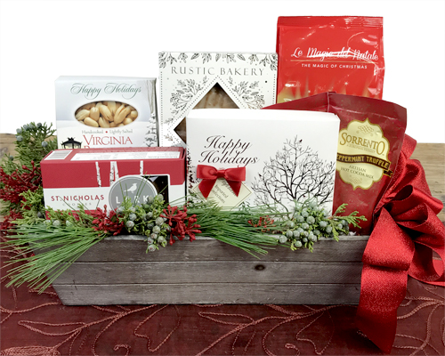 Chocolates, Cookies, Peanuts and Cocoa fill a grey wood windowbox