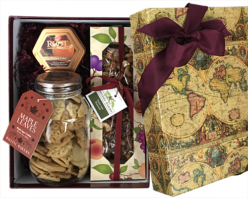 Vintage Map Box with Cookies, Nuts and a Candle